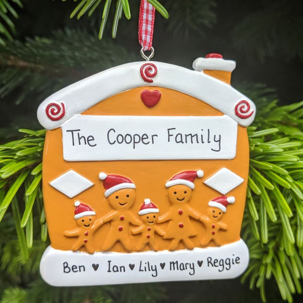 Personalised Gingerbread Family of 5